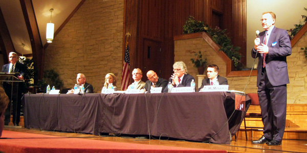 Joe speaking at the MBBA Candidate Forum